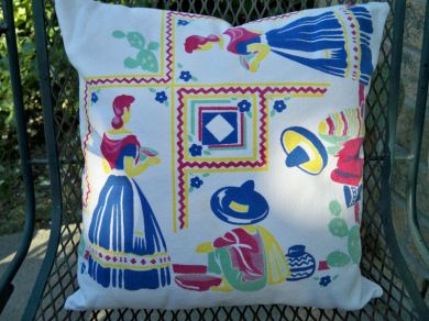Vintage 1940's Mexican Southwest Tablecloth Pillow