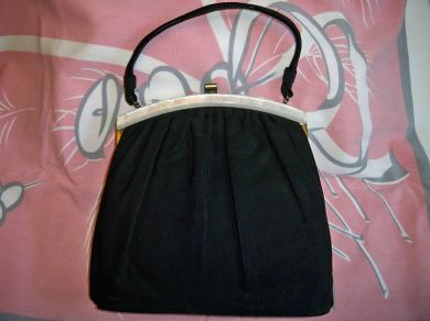 Vintage 1940s Black Cloth Purse Handbag Bakelite Trim