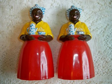 Vintage 1950s Black Americana Luzianne Mammy Salt and Pepper Shakers