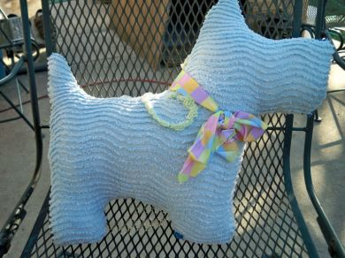 Vintage Chenille Bedspread Animal Scottie Dog Pillow Handmade