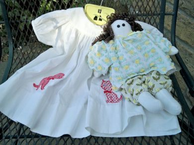 Vintage Chenille Bedspread Muslin Doll Collectible Toy
