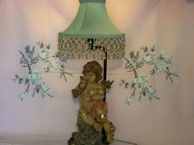 Vintage Cherub Putti Angel Table Lamp