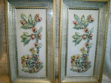 Vintage 1950s Cherubs Lady Shadowbox 3D Pictures Pair Oak Tree Acorns