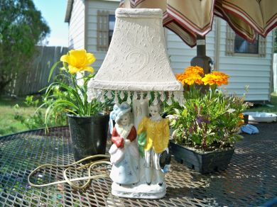 Vintage 1950s Colonial Figurines Porcelain Boudoir Lamp Beaded Chandelier Lamp Shade Bedroom