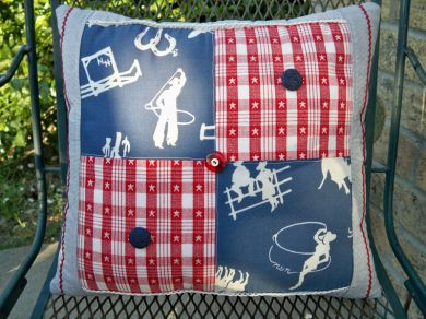Vintage Cowboy Cowgirl Stars Patch Western Pillow