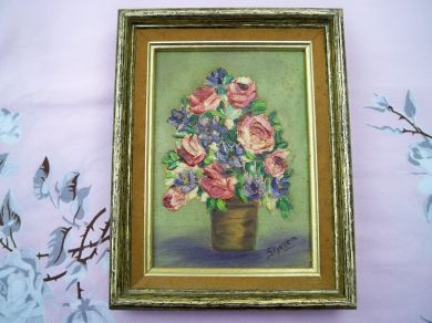 Vintage Floral Bouquet Oil and Acrylic Painting