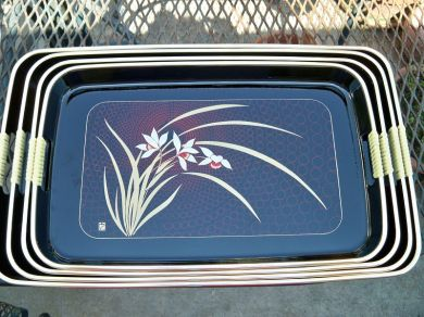 Vintage Japanese Black Lacquerware Serving Tray Set