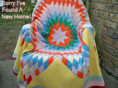 Antique Vintage 1930's Lone Star Quilt Hand Quilted ~
