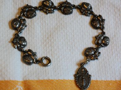 Vintage 1940s Rosary Bracelet Holy Metal Religious