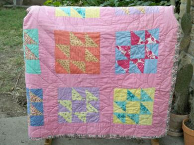 Antique Vintage 1930's Swallows Nest Rose Cotton Quilt